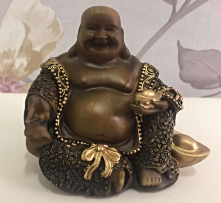 Small Wood Effect Laughing Buddha Holding Bowl